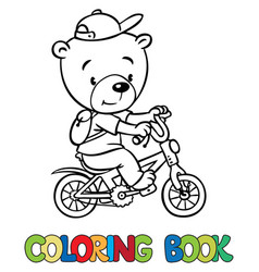 coloring book of little funny bear on bicycle vector image vector image