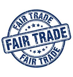 Fair trade blue grunge round vintage rubber stamp vector