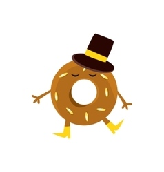 Humanized doughnut with brown glazing and top hat vector