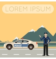 Police on the road Banner6 vector image
