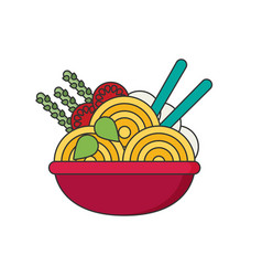ramen in color flat icon style vector image