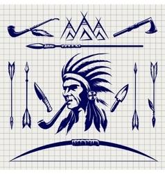 Sketch of native american indian vector image vector image