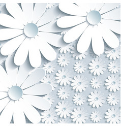 Stylish grey background with pattern 3d chamomile vector image vector image