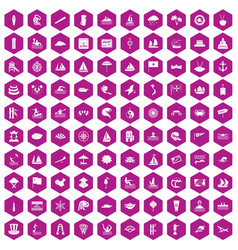 100 sailing vessel icons hexagon violet vector