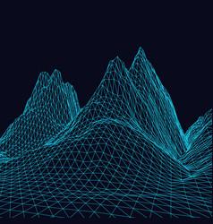 3d digital landscape made triangle mesh vector