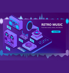 3d isometric site of listening music vector image