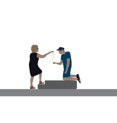 A good woman delivers a disabled beggar for food vector image