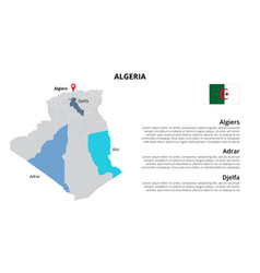Algeria map infographic template divided by vector