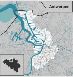 Antwerpen antwerp map belgium rivers and roads vector