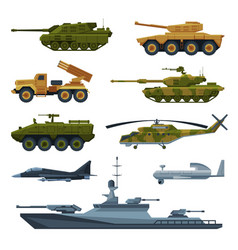 armored army vehicles collection military heavy vector image
