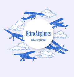 background with airplanes and clouds vector image