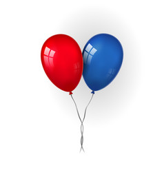 Balloons 3d bunch couple set thread isolated vector