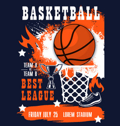 Basketball sport tournament match invitation vector