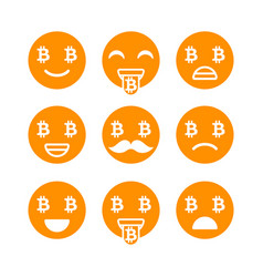 Bitcoin emoji emoticons or smile emotional icons vector