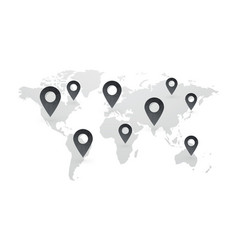 black map pointers with world map isolated vector image