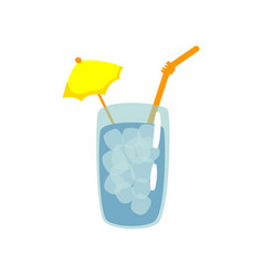 blue cocktail with straw and umbrella cartoon vector image