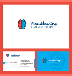 brain logo design with tagline front and back vector image