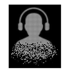 Bright disintegrating pixel halftone listen vector