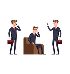 Businessman in a office workplace is sitting on a vector