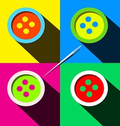 Buttons - Flat Design Long Shadow Pop Art Style vector