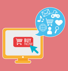 buy on line with monitor computer vector image
