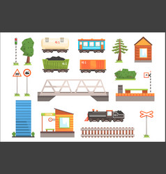 cartoon train railroad vector image