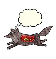 Cartoon wolf with mouse in belly with thought vector