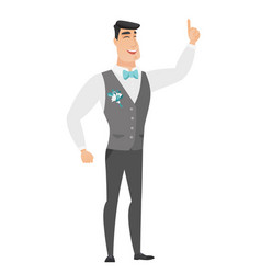 caucasian groom pointing with his forefinger vector image vector image