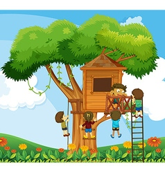 Children climbing up the treehouse in the garden vector