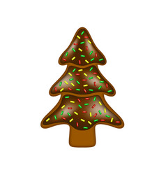 christmas gingerbread in shape of tree vector image