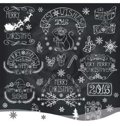 ChristmasNew Year 2016 decorationlabels vector image