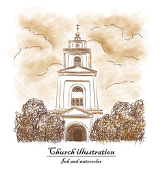 Church bush cloud - watecolor and ink vector