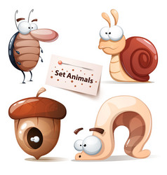 Cockroach snail nuts worm - animals set vector