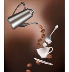 Coffee pot beans cup saucer spoon and sugar vector image