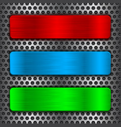 Colored metal plates on perforated background vector