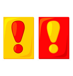 colorful cartoon red yellow attention cards vector image