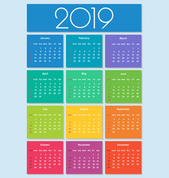 colorful year 2019 calendar simple vector image