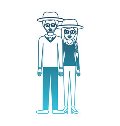 couple in degraded blue silhouette and both with vector image