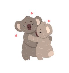 couple of cute koalas in love embracing each other vector image