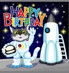 Cute cat in astronaut costume vector