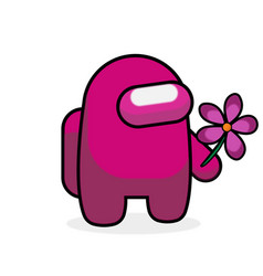 Cute character cartoon game takes flower vector