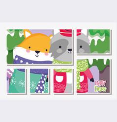 cute fox and raccoon warmn sweater tree snow merry vector image