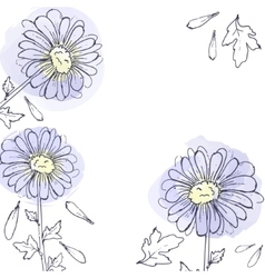 daisy flowers floral set of ink drawing vector image