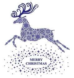 deers christmas blue vector image
