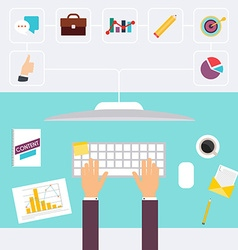Desk and signing a document computers vector