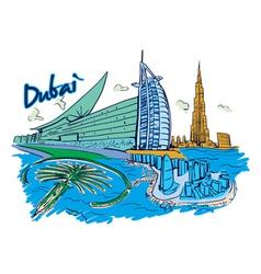 Dubai doodles vector