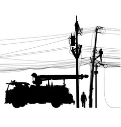 Electricity supply maintenance silhouette vector