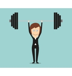 Elegant business woman lifting barbell above head vector