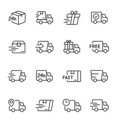 Express delivery service linear icons set vector