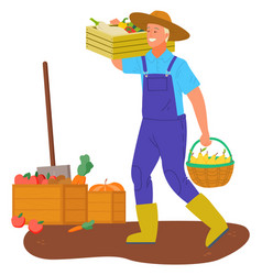 Farmer carrying basket with gathered food veggies vector